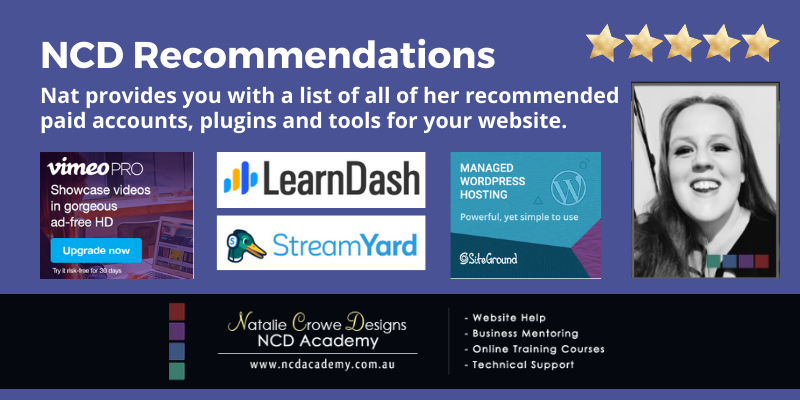 Natalie Crowe Designs Recommendations for Paid Plugins, Tools and Accounts | WordPress Websites Help & Courses
