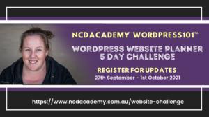 NCDAcademy WordPress101 - WordPress Website Planner 5 Day Challenge