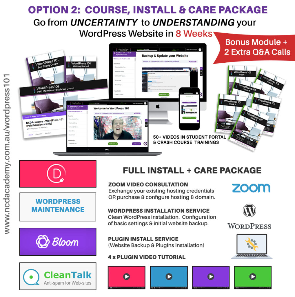 WordPress 101 Course INSTALL + Care Package